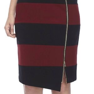 Nine West Striped Asymmetrical Skirt NWT